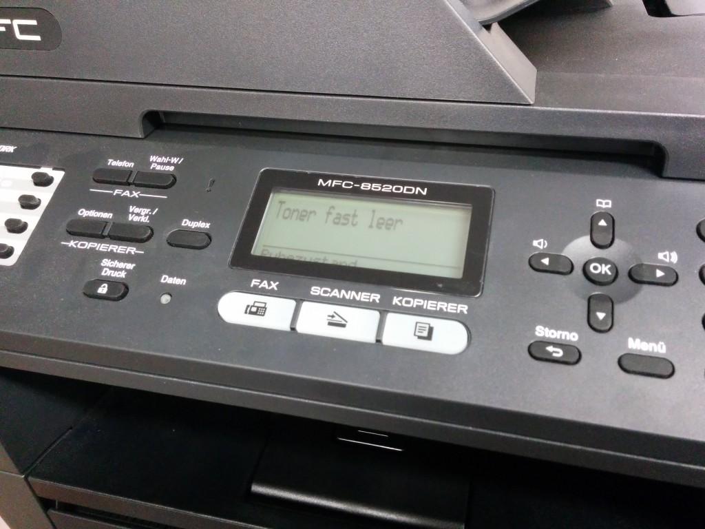 Meldung Toner fast leer bei MFC-8520DN