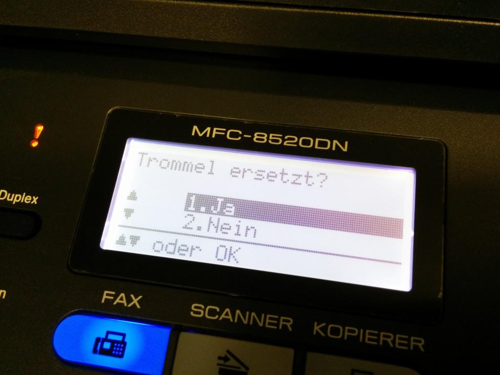 Brother MFC-8520DN Spezialmenü zum Resetten der Trommel